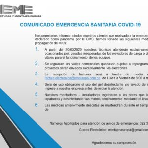 COMUNICADO DE EMERGENCIA SANITARIA COVID-19