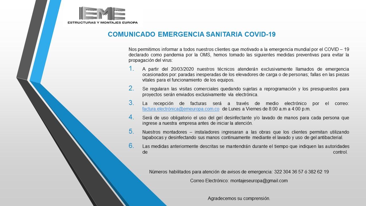 Comunicado emergencia covid-19 colombia